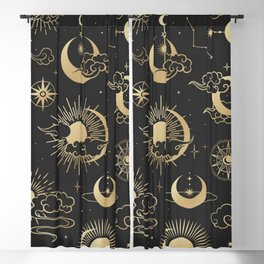 asian seamless pattern with clouds moon sun stars vector collection oriental chinese japanese korean Blackout Curtain