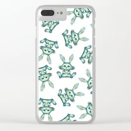 Blue rabbit with flora instead of coat Clear iPhone Case