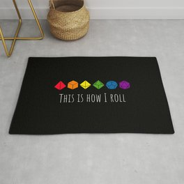 This is how I roll rainbow color Rug