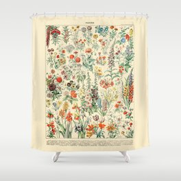 Wildflower Diagram // Fleurs II by Adolphe Millot 19th Century Science Textbook Artwork Shower Curtain