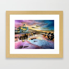 Sunset landscape & surfers Blue Pink Orange Yellow Framed Art Print