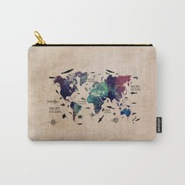 world map oceans life with text Carry-All Pouch