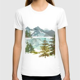 Forest green teal blue watercolor hand painted landscape T-shirt