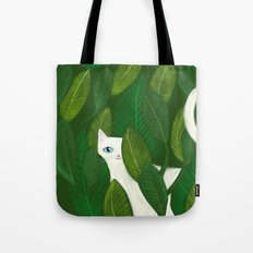 Jungle Cat white cat in leaves artwork by Tascha Tote Bag