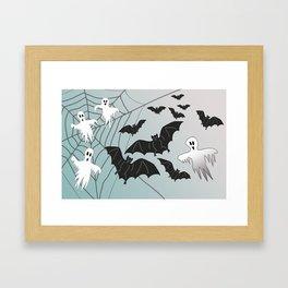 Bats & Monsters Halloween Spider Web Framed Art Print