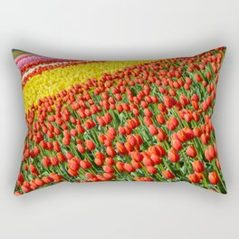 Colorful tulips rows Rectangular Pillow