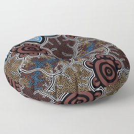 Water Lilly Dreaming - Authentic Aboriginal Art Floor Pillow