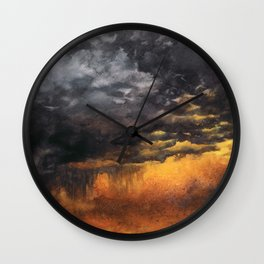 Watercolor Sky No 6 - dramatic storm clouds Wall Clock