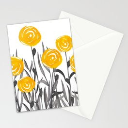 Fall Sunshine, Floral Watercolor Print, Yellow and Gray Stationery Cards
