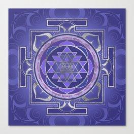 Sri Yantra  / Sri Chakra Purple and Silver Canvas Print