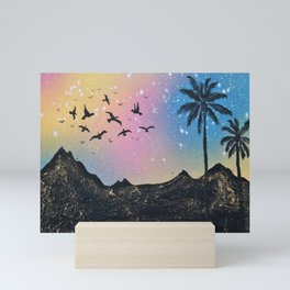 Birds in the sky silhouette Mini Art Print
