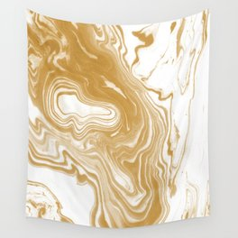 Marble gold pattern suminagashi spilled ink japanese watercolor abstract painting Wall Tapestry