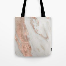 Marble Rose Gold Shimmery Marble Tote Bag