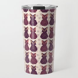 Purple and Pink Cute Cat Faces Vector Pattern Travel Mug