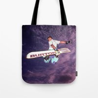 snowboarding Tote Bags featuring Snowboarding #2 by Bruce Stanfield
