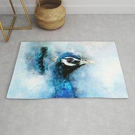 Peacock Peafowl Blue Teal Bird Wildlife Animal Watercolor Artistic Painting Rug