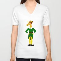 elf V-neck T-shirts featuring Elf Unicorn by That's So Unicorny
