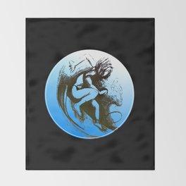 Surfer Girl black Throw Blanket