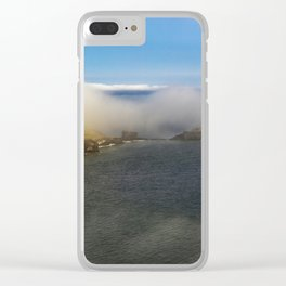 Saltwick Bay as the fog rolls in Clear iPhone Case