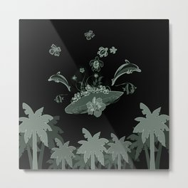 Surfboard with dolphin, flowers, palm and turtle Metal Print