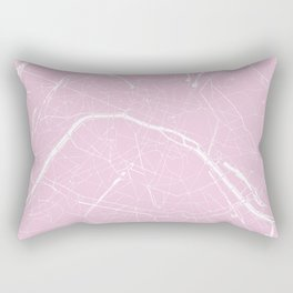 Paris France Minimal Street Map - Pretty Pink Rectangular Pillow
