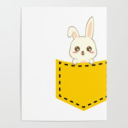 "A Cute Bunny Tee For Rabbit Lovers ""Bunny Lover"" T-shirt Design A cute Rabbit Hiding inside A Pocket Poster"