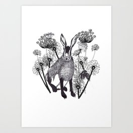 Hare Amongst the Wildflowers Art Print