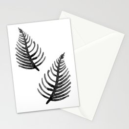 Black Watercolor Leaf Stationery Cards