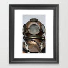 Antique vintage metal underwater diving helmet Framed Art Print