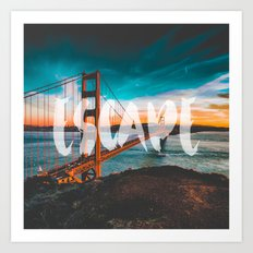 ESCAPE - wall tapestry - travel - water - sky - landscape nature photography tapestries love Art Print