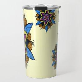 Funky Colourful Zen Flower Mandala Travel Mug