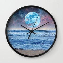 Super Moon Night Waves Wall Clock
