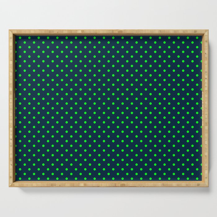 Mini Navy and Neon Lime Green Polka Dots Serving Tray