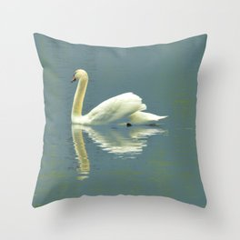 Mute Swan on The Avon River Throw Pillow