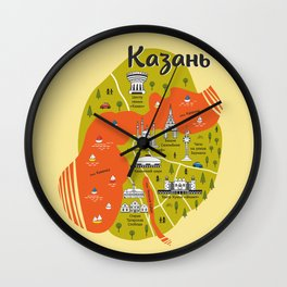 Map of Kazan Wall Clock
