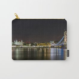 Night photo of Tower Bridge and the Tower of London with light reflections Carry-All Pouch