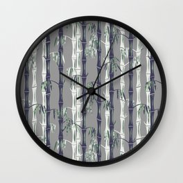 Bamboo Forest Pattern - Grey Blue White Wall Clock