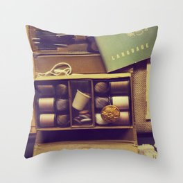 Vintage sewing box Throw Pillow