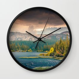 Mountains, Pines, Clouds Landscape Wall Clock