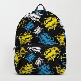 Beetles on Black Background Pattern Backpack