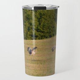 Immature Sandhill Cranes Playing - A Nature Art Print Travel Mug