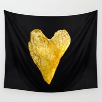 potato Wall Tapestries featuring Heart Shaped Potato Chip by Frankie Cat