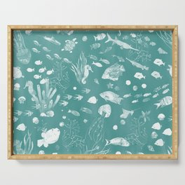 Watercolor Seascape in Deep Green Serving Tray