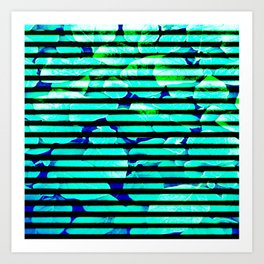 leaf print stripe Art Print