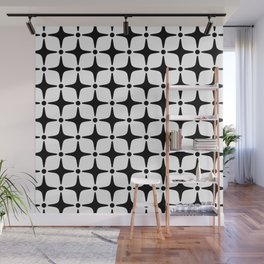 Mid Century Modern Star Pattern Black and White Wall Mural