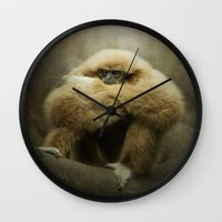 study Wall Clocks featuring Study of a Gibbon - The Thinker by Pauline Fowler ( Polly470 )