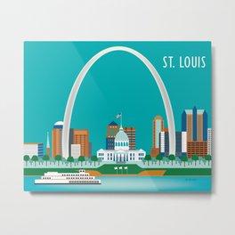 St. Louis, Missouri - Skyline Illustration by Loose Petals Metal Print