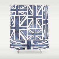 union jack Shower Curtains featuring UNION JACK by Oksana Smith