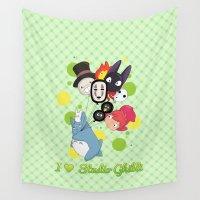 studio ghibli Wall Tapestries featuring I ♥ Studio Ghibli by Lacis