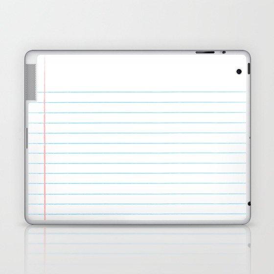 Notebook Paper Digital Watercolor School Chalk Laptop & iPad Skin